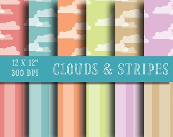 "Clouds and Stripes - Peaceful Patterns - 12, 12"" Pattern S"