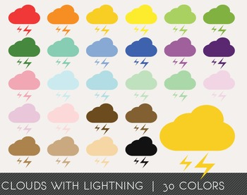 Clouds with lightning Digital Clipart, Clouds with lightni