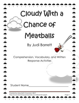 Cloudy With a Chance of Meatballs {FREE! Comprehension and