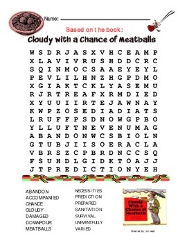 Cloudy with a Chance of Meatballs {Word Search & Answer Key}