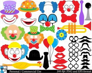 Clown Props Digital Clip Art Graphics Personal Commercial
