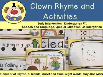 Clown Rhyme & Activities:  SLP. 4K, ECH, Kindergarten Inte
