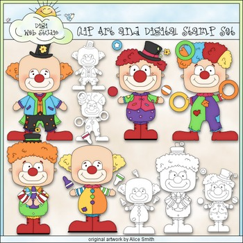 Clowning Around 1 - Commercial Use Clip Art & Black & Whit