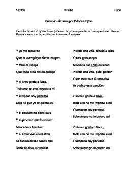 "Cloze Activity - Adjectives - Adjetivos - ""Corazón sin car"