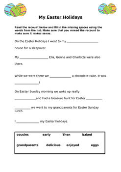 Cloze Passage about Easter Holidays