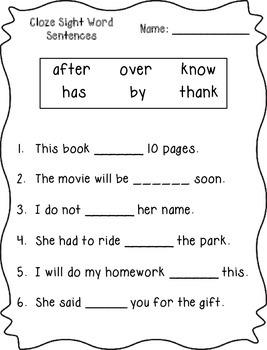 Cloze Sight Word Sentences (1st Grade)