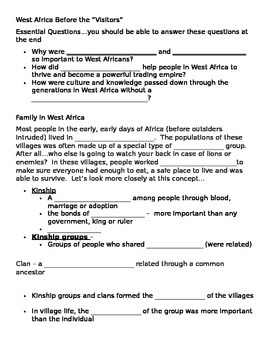 Cloze and summary directions for West Africa Before the Vi