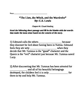 """Clozed Reading for """"The Lion, the Witch, and the Wardrobe"""""""
