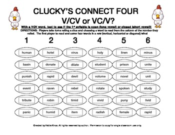 Clucky's Connect 4: VCV Syllable Division Game- Orton Gill