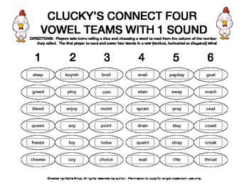 Clucky's Connect 4: Vowel Teams Game (ee, oi, oy, ai, ay,