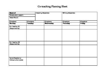 Co-teaching planning sheet for ELA teachers