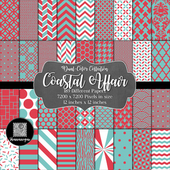 Coastal Affair Digital Paper Collection 12x12 300dpi