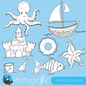 Coastal sea stamps commercial use, vector graphics, images