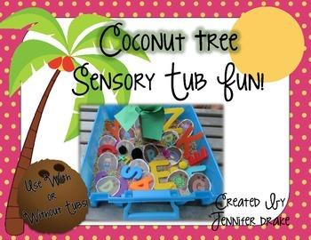 Coconut Tree Sensory Table/Tub Alphabet & Number Activity Pack!