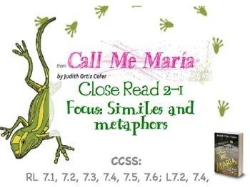 Code X Unit 1 Grade 7, Call Me Maria, Read 2.1 , Similes a