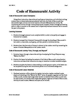 Code of Hammurabi Activity