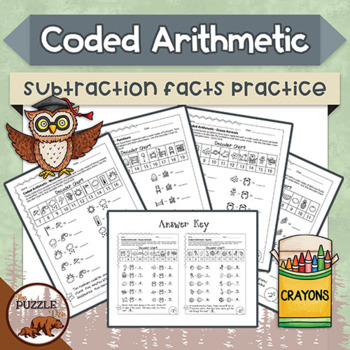 Coded Arithmetic Subtraction- 13 puzzles practicing facts