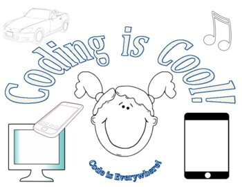 Coding is Cool Coloring sheet