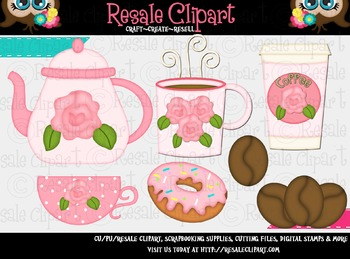 Coffee And Donuts 2 ClipArt - Commercial Use