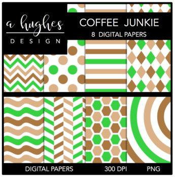 Coffee Junkie {12x12 Digital Papers for Commercial Use}