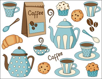 Coffee Time Digital Clip Art Set - Pot, Cup, Cookies, Cupcake