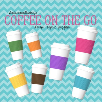 Coffee Travel Mugs Clipart, 7 Realistic Travel Cups