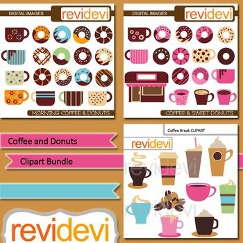 Coffee and Donuts digital clip art bundle (3 packs)