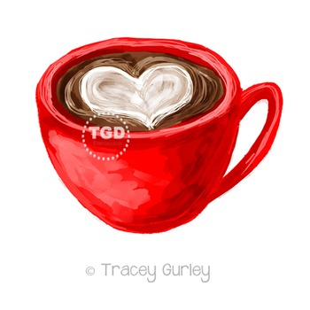 Coffee with Heart Illustration Printable Tracey Gurley Designs
