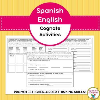 Spanish English Cognate Activities
