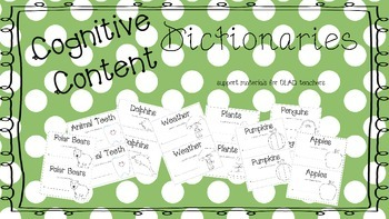Cognitive Content Dictionary Booklets