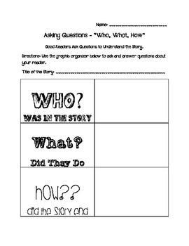 Cognitive Strategy - Asking Questions Graphic Organizers