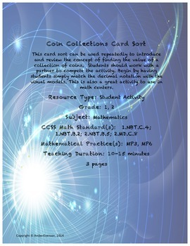Coin Collections Card Sort