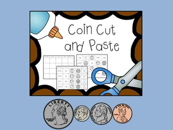 Coin Cut and Paste, Match and Identify Quarter, Dime, Nick