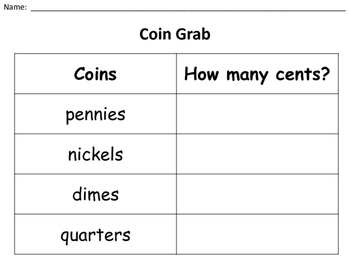 Coin Grab Recording Sheet