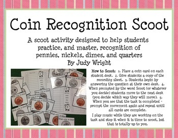 Coin Recognition Scoot: Pennies, Nickels, Dimes, and Quarters