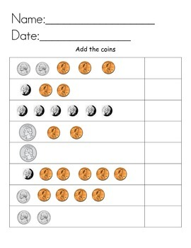 Coin addition practice