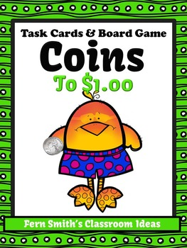 Money Task Cards and Board Game for Coins to $1.00 Recordi