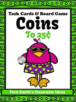 Money Task Cards and Board Game for Coins to 25 Cents Reco