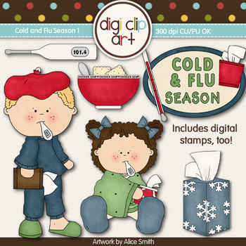 Cold And Flu Season 1-  Digi Clip Art/Digital Stamps - CU