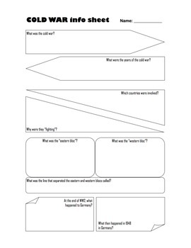 Cold War Graphic Organizer with KEY (SS6H7c.)