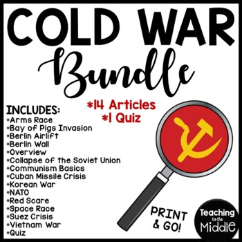 Cold War Reading Comprehension Worksheets Bundle 13 articl
