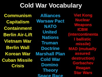Cold War Vocabulary Lessons