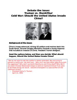 Cold War debate MacArthur vs Truman Should the United Stat