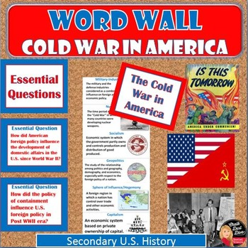 Cold War in America Vocabulary WORD WALL Posters (U.S.History)