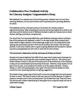 Writing Peer Feedback Activity (literary analysis / analyt