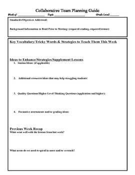 Collaborative Planning Guide