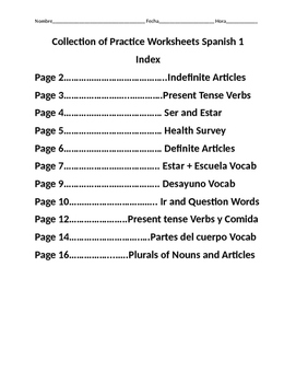 Collection of 11 Practice Worksheets Spanish 1 Various Topics