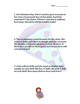 Collection of 3 Math Story Problems