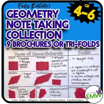 Collection of 8 Geometry Note Taking Brochures or Trifolds