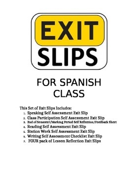 Collection of Self Assessments and Exit Slips